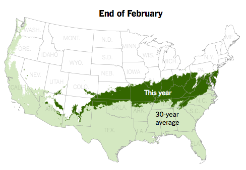 "This year, ""first leaf"" vegetation arrived much earlier than the 30-year average."
