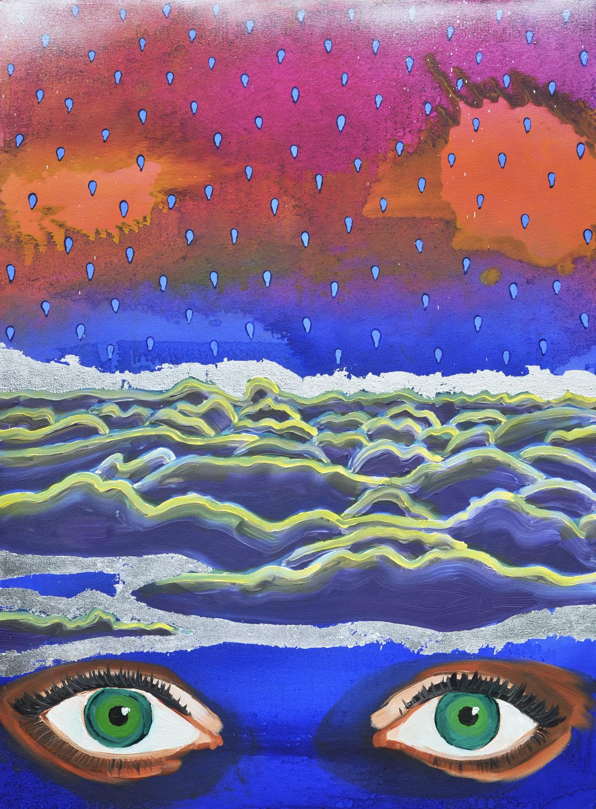 Air Head (The Fool)  2014 oil, spray paint and metal leaf on canvas 100 x 75cm