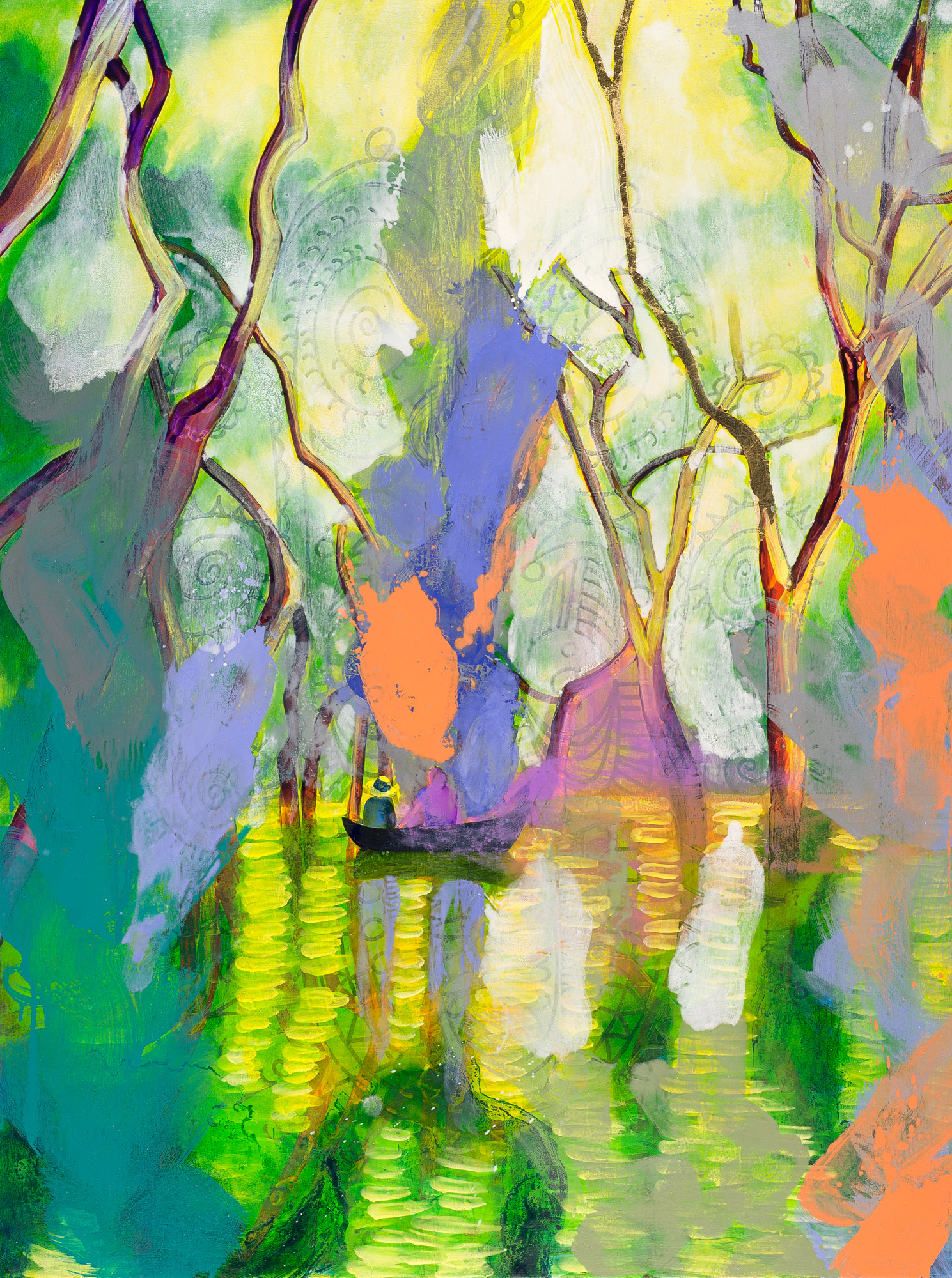 Medicine/Bangkayak Mangrove Forest (Temperance)  2017 oil and metal leaf on canvas  101 x 76cm