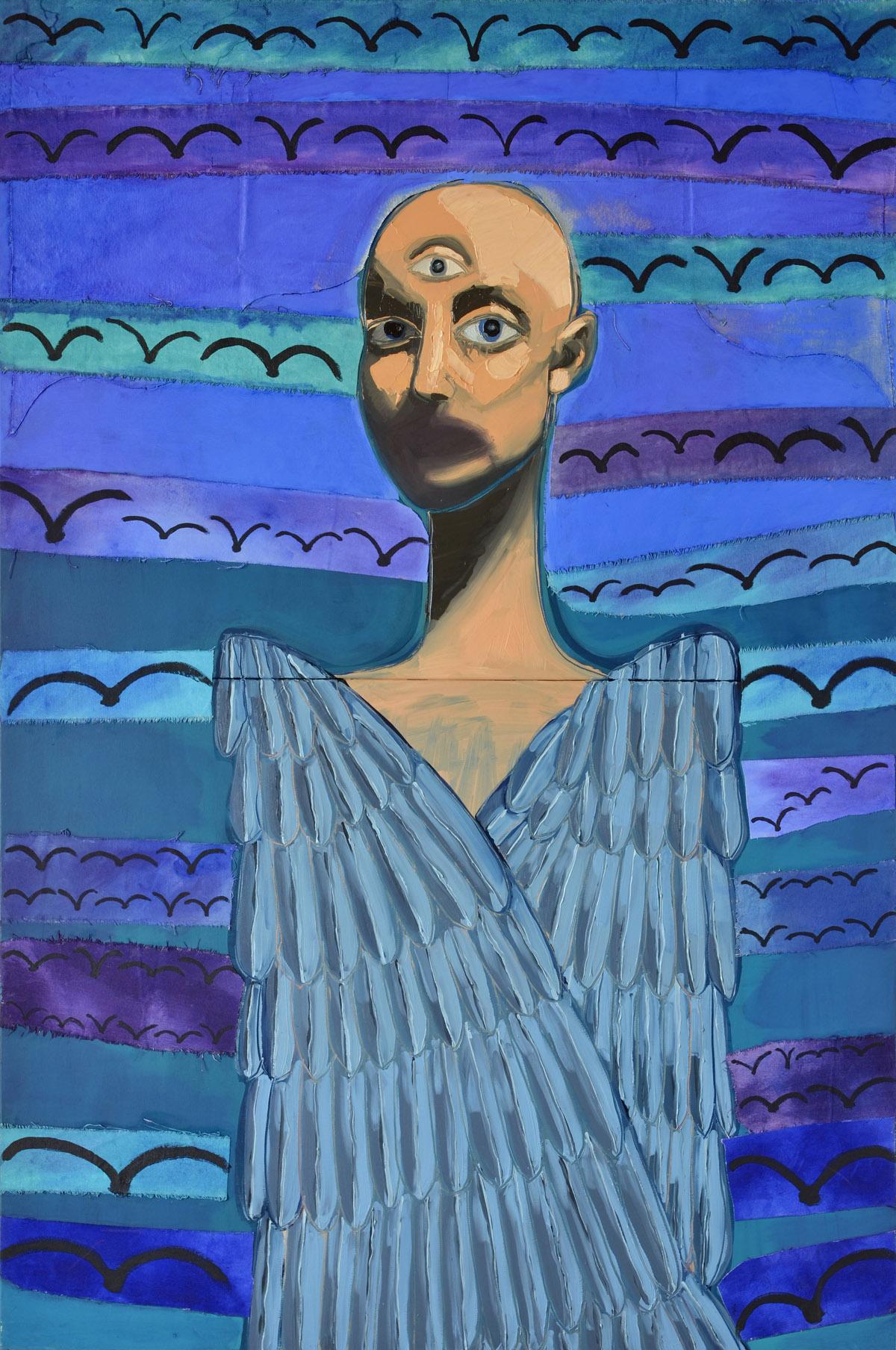 Bird Man (The Hierophant)  2012 oil and acrylic on canvas  153 x 102cm