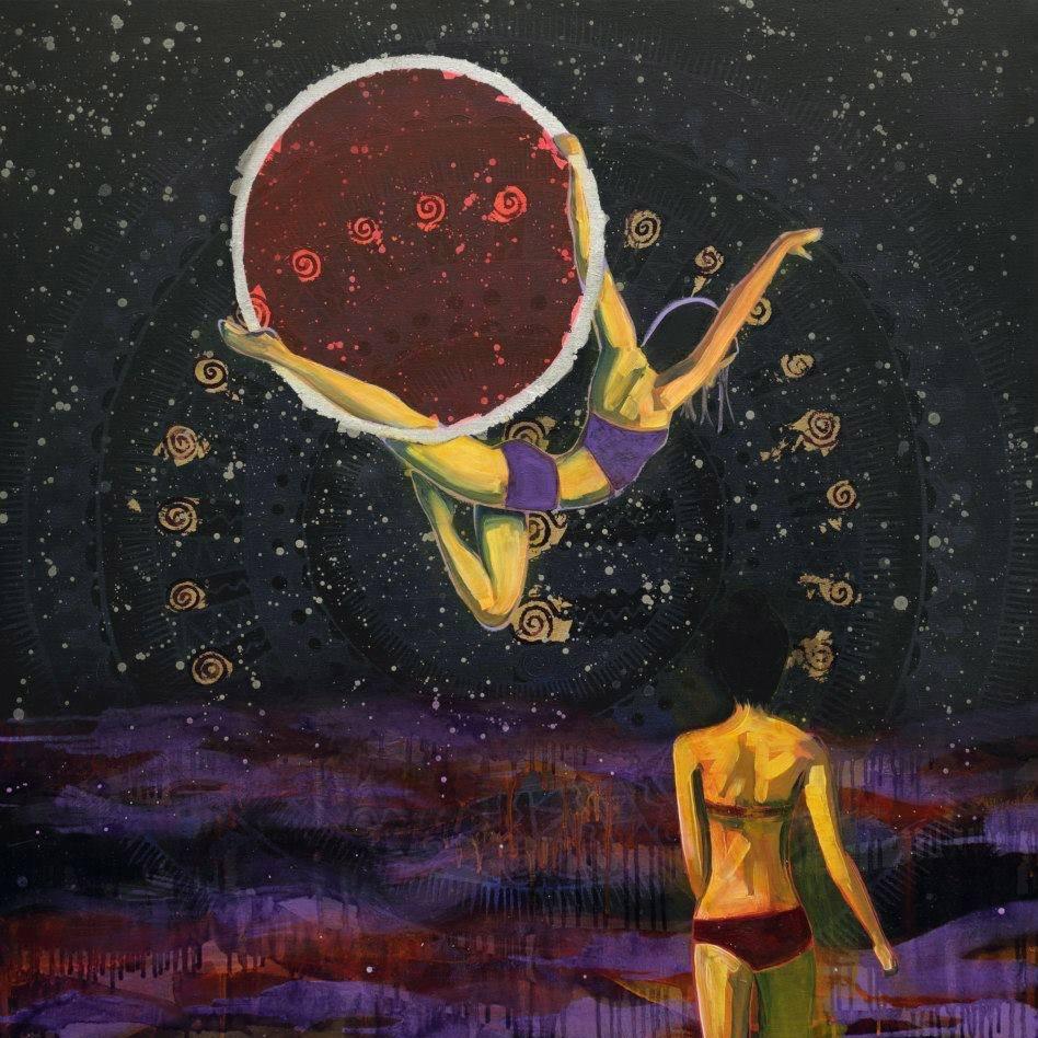 Moon Rise (Death)  2015 oil, spray paint and metal leaf on canvas 100 x 100cm
