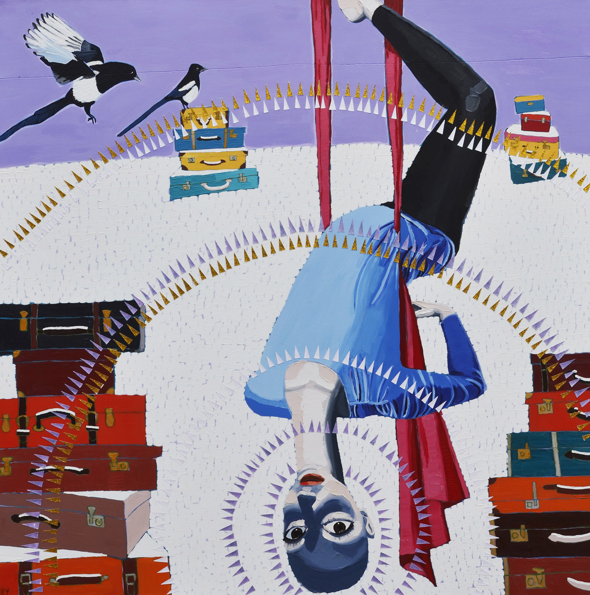 Silks (The Hanged Man)  2013 oil and glitter on canvas 180 x 180cm