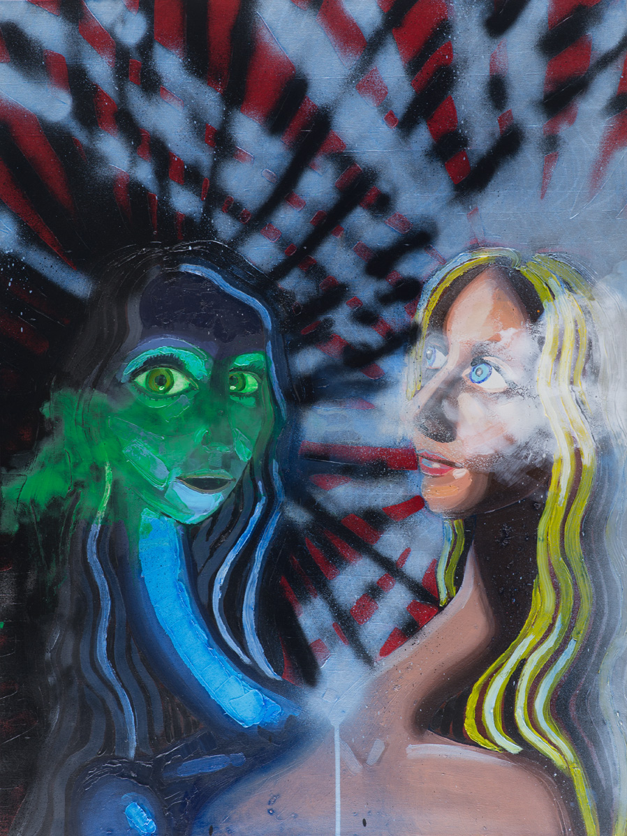 Two Heads (The Devil)  2013-2016 oil and spray paint on canvas 101 x 76cm
