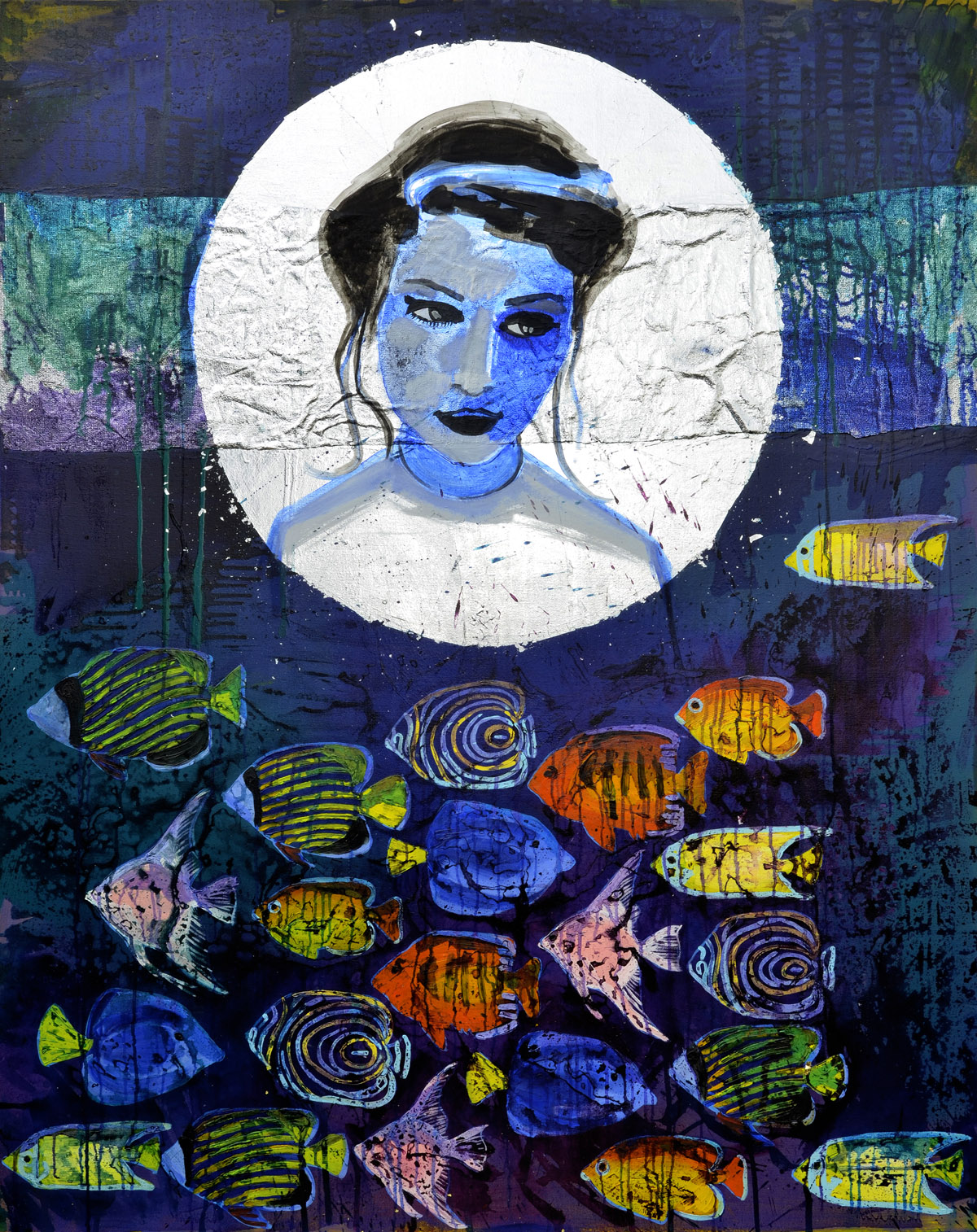 Tides (The Moon)  2014 oil, ink, fabric and metal leaf on canvas 152 x 122cm