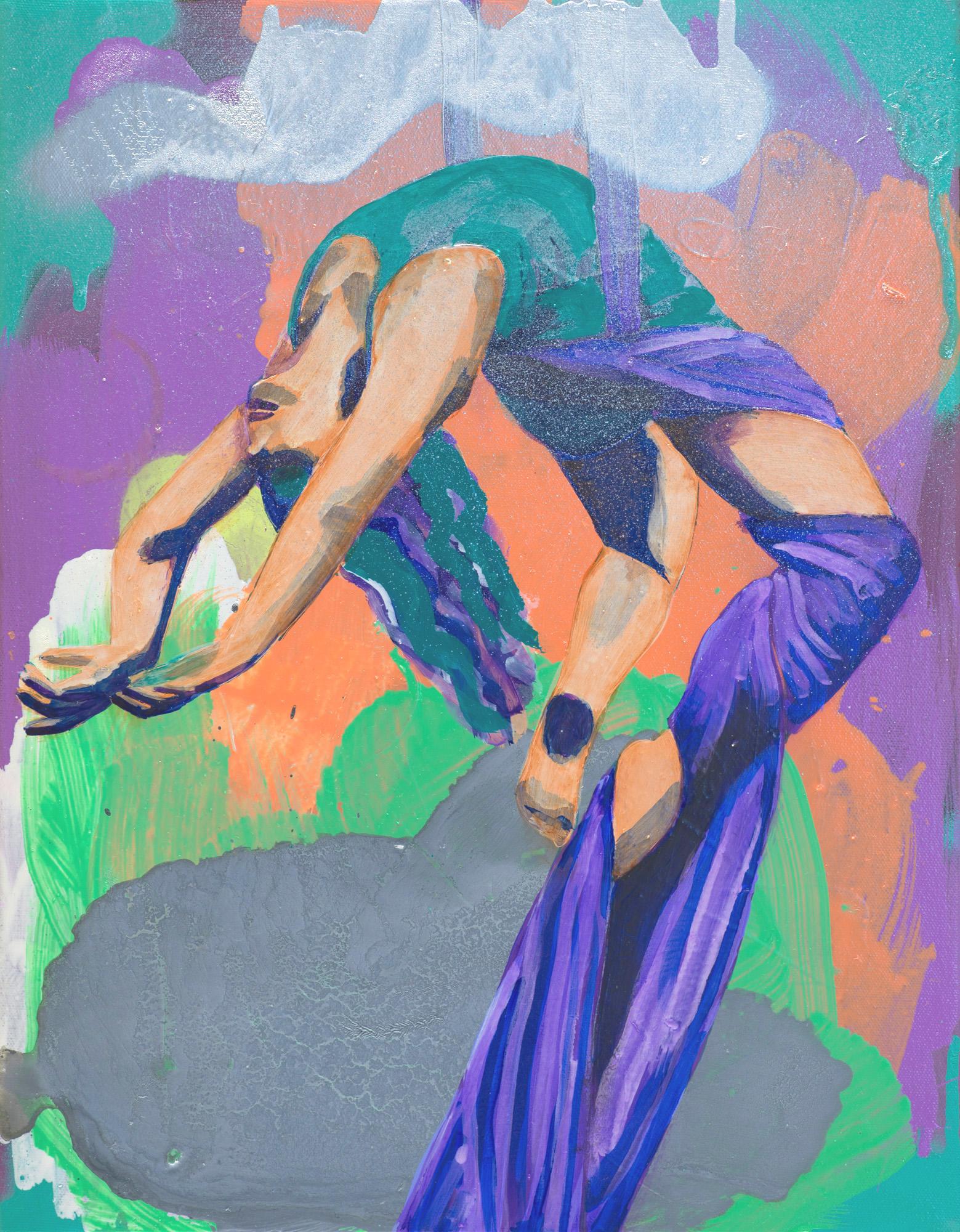 Study for Central Sun  2017 oil and spray paint on canvas 45.5 x 35.5cm