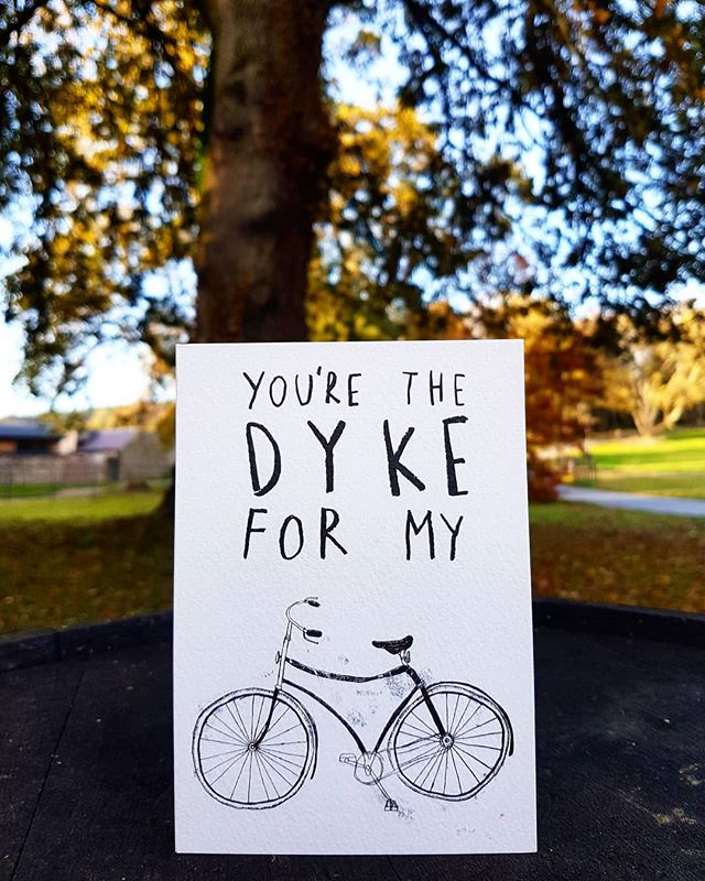 Who's the dyke for your bike?  Tag them 😉👇 . . . This card is also available as a print! Buy online at www.equalfolk.com 🌈