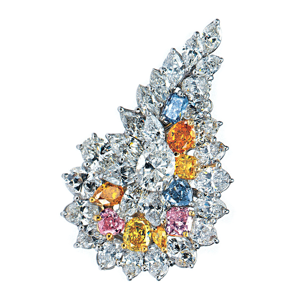 BROOCH FEATURING FANCY CLUE, FANCY INTENSE PINK, FANCY VIVID YELLOW, FANCY INTENSE ORANGE AND COLORLESS DIAMONDS CRAFTED IN 18K YELLOW GOLD AND PLATINUM