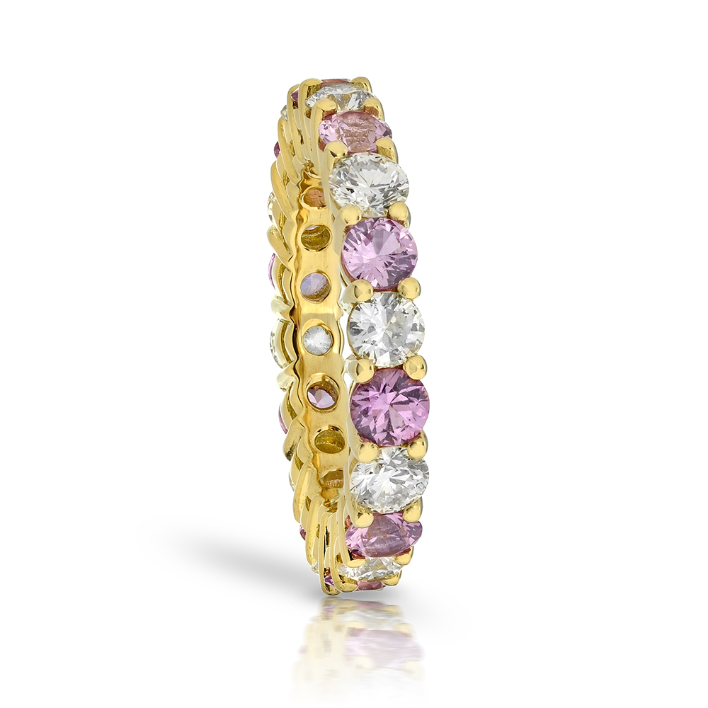 PINK DIAMOND YELLOW GOLD BAND