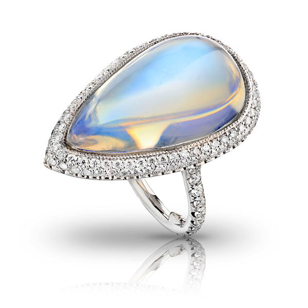 CABOCHON TRANSPARENT BLUE GEM PEAR SHAPE MOONSTONE WITH ANTIQUE CUT DOWN DIAMOND PAVE AND MILGRAIN DETAIL CRAFTED IN PLATINUM, 19.53 CTW
