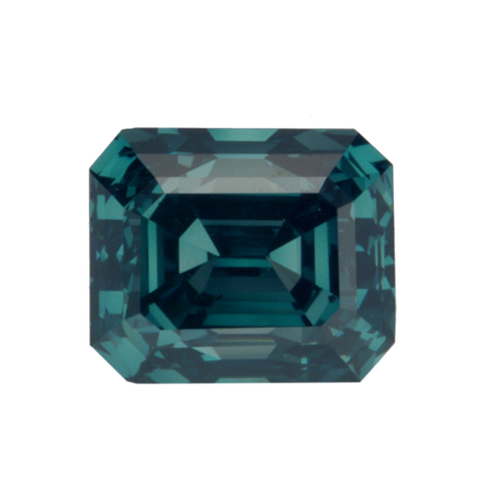 FANCY DEEP BLUISH GREEN - EMERALD CUT  LOOSE  DIAMOND