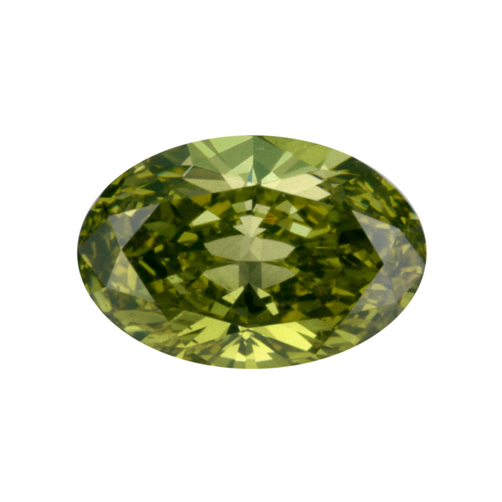 FANCY DEEP GREEN YELLOW - OVAL CUT  LOOSE  DIAMOND