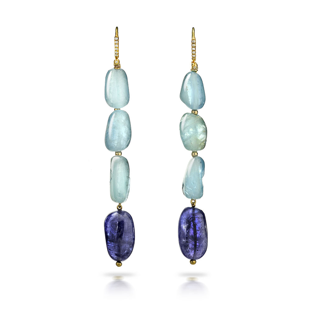 AQUAMARINE AND TANZANITE DROP EARRINGS WITH 18K YELLOW GOLD DIAMOND PAVE SET EURO WIRE, 99 CTW
