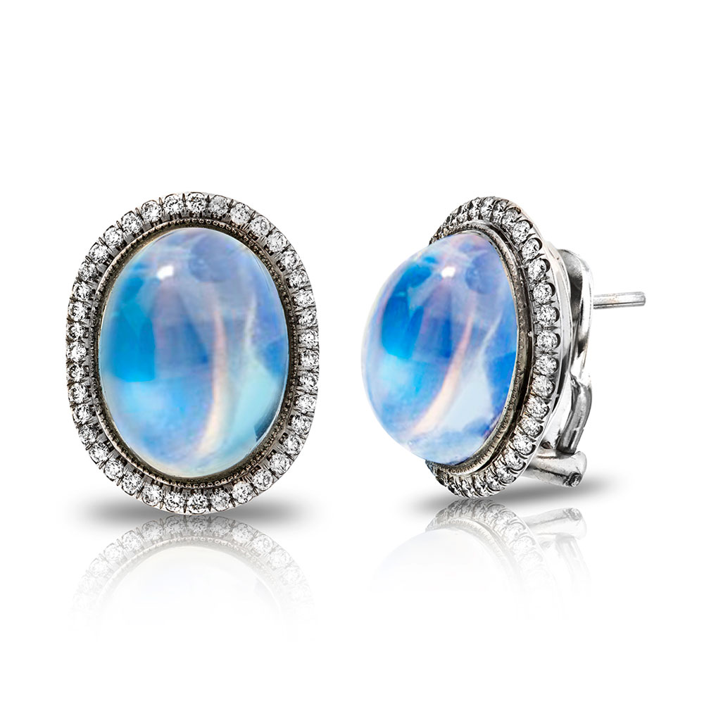 CABACHON TRANSPARENT BLUE GEM MOONSTONE STUD EARRINGS WITH ANTIQUE CUT DOWN DIAMOND PAVE AND MILGRAIN, CRAFTED IN PLATINUM. 17.88 CTW