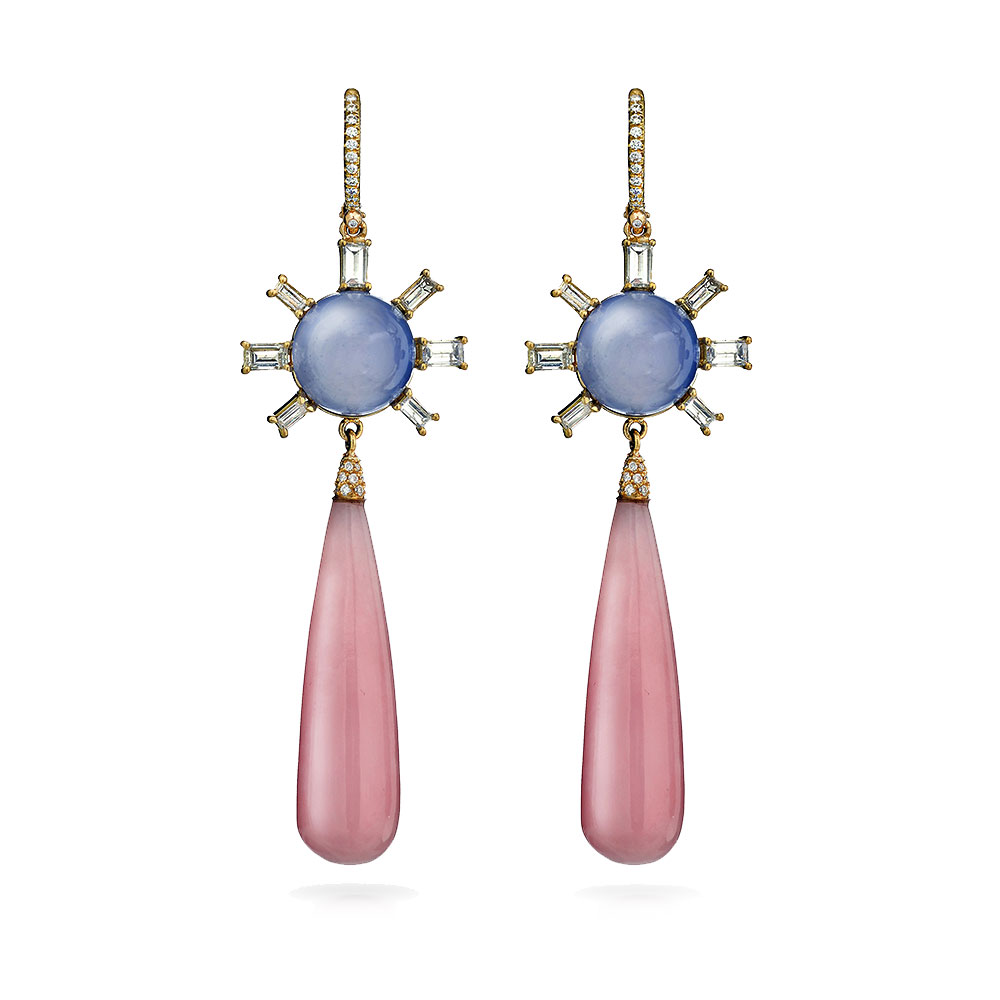 PINK OPAL BRIOLETTE AND CHALCEDONY ROUNDS WITH BAGUETTE CUT DIAMONDS AND DIAMOND PAVE EURO WIRES, 56 CTW