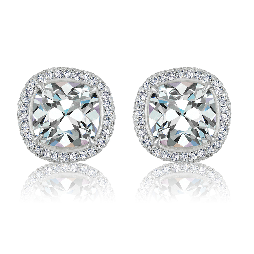 ANTIQUE CUSHION CUT DIAMONDS WITH ANTIQUE CUT DOWN DIAMOND PAVE CRAFTED IN PLATINUM, 4.95 CTW
