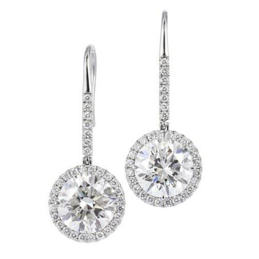 ROUND DIAMOND HALO EARRINGS WITH DIAMOND PAVE LEVER BACK DROPS, CRAFTED IN PLATINUM, 2.89 CTW