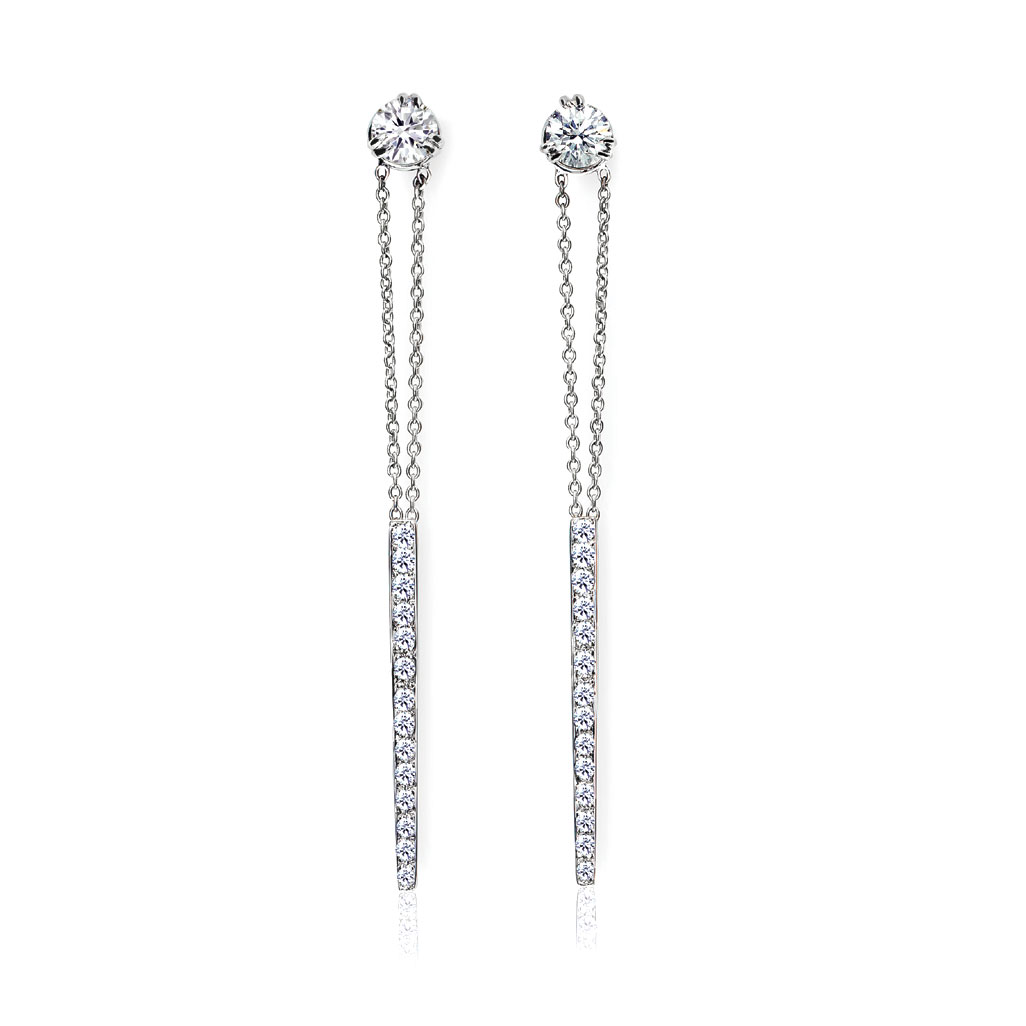 STICKS AND STONES DROP EARRINGS WITH DIAMOND PAVE, CRAFTED IN 18K WHITE GOLD, .85 CTW