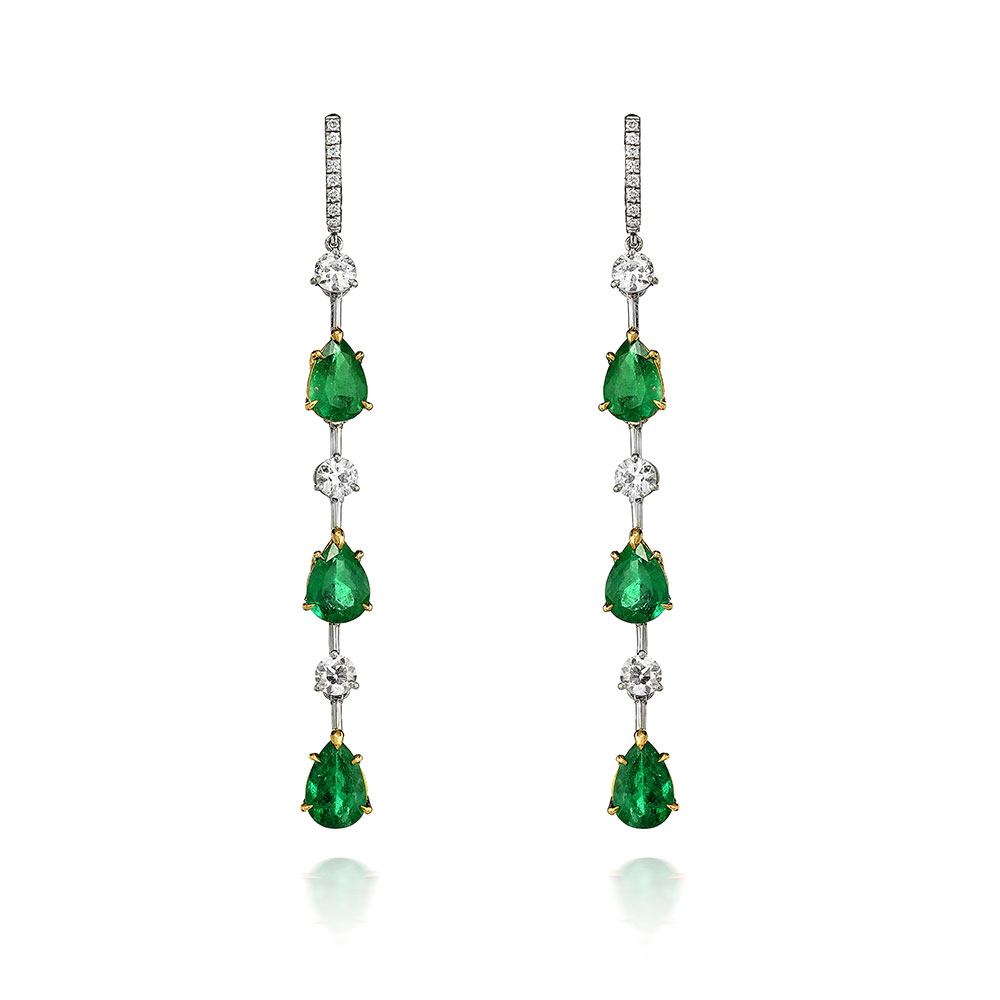 PEAR SHAPE EMERALD AND ANTIQUE EUROPEAN CUT DIAMONDS WITH KNIFE EDGE CONNECTIONS AND DIAMOND PAVE LEVER BACKS, CRAFTED IN PLATINUM, 7.82 CTW
