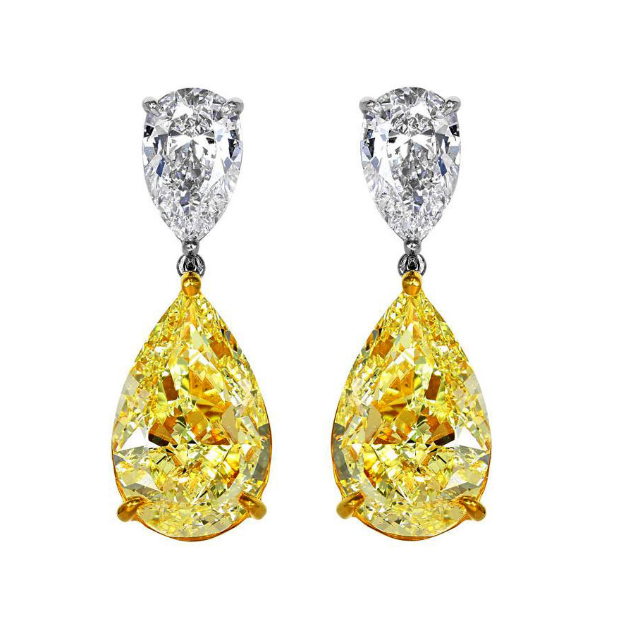 FANCY YELLOW PEAR SHAPE DIAMONDS WITH COLORLESS PEAR SHAPE DIAMONDS CRAFTED IN PLATINUM AND 18K YELLOW GOLD, 10.25 CTW