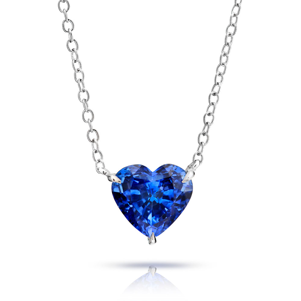 PENDANT FEATURING A HEART SHAPE NATURAL SAPPHIRE CRAFTED IN 18K WHITE GOLD, 4.11 CTS