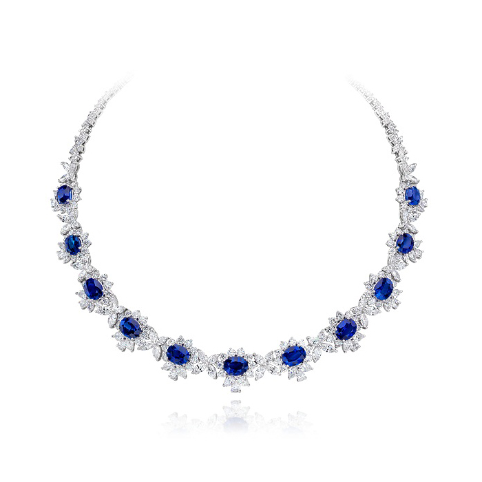 SAPPHIRE AND COLORLESS DIAMOND CLUSTER NECKLACE CRAFTED IN PLATINUM, 82.51 CTW
