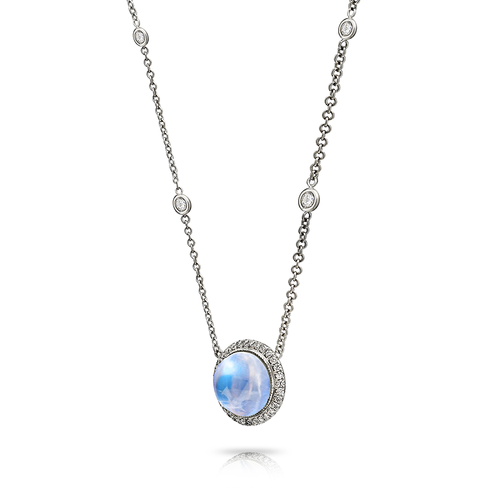 CABOCHON TRANSPARENT BLUE GEM MOONSTONE WITH ANTIQUE CUT DOWN DIAMOND PAVE AND DIAMOND BY THE YEARD CHAIN CRAFTED IN PLATINUM, 5.95 CTW