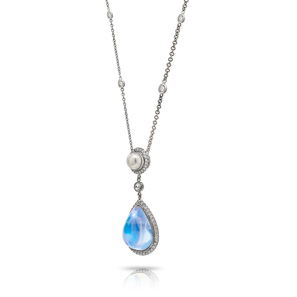 CABOCHON TRANSPARENT BLUE GEM MOONSTONE AND AKOYA PEARL SEPARATED BY A ROSE-CUT DIAMOND WITH ANTIQUE CUT DOWN DIAMOND PAVE AND DIAMOND BY THE YARD CHAIN IN PLATINUM, 12 CTW