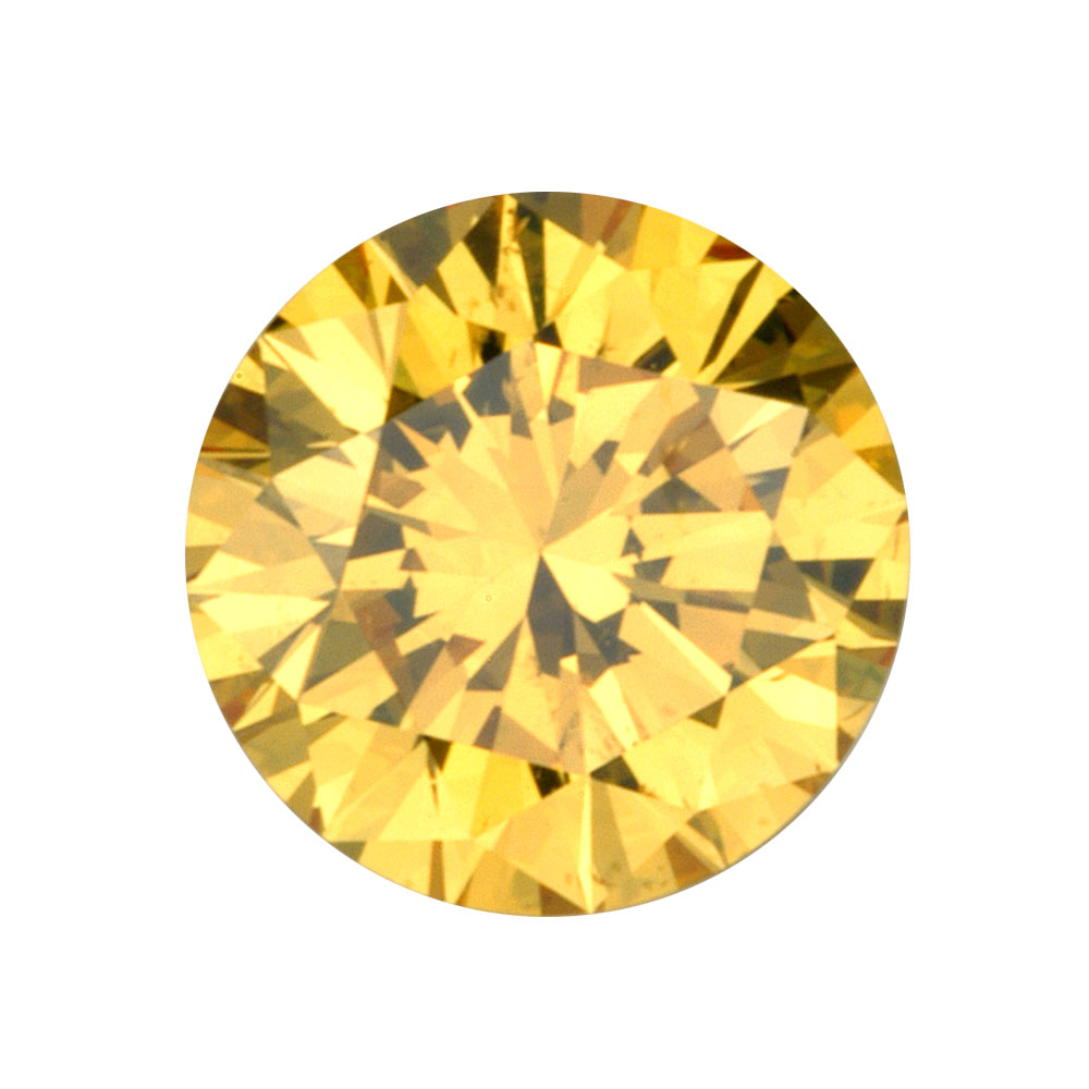 FANCY VIVID YELLOW - ROUND BRILLIANT  LOOSE  CUT  DIAMOND