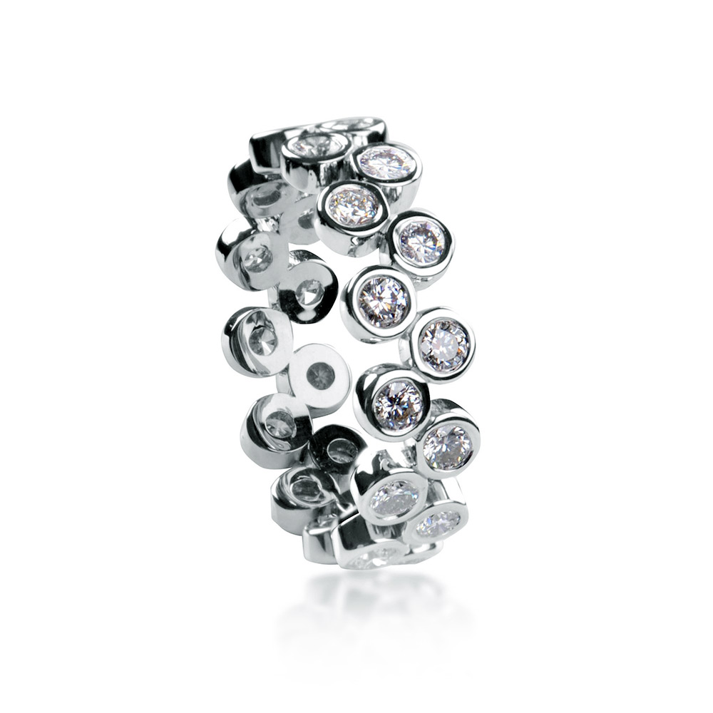 BUBBLE BAND WITH COLORESS BEZEL-SET DIAMONDS, CRAFTED IN PLATINUM, 1.00 CTW