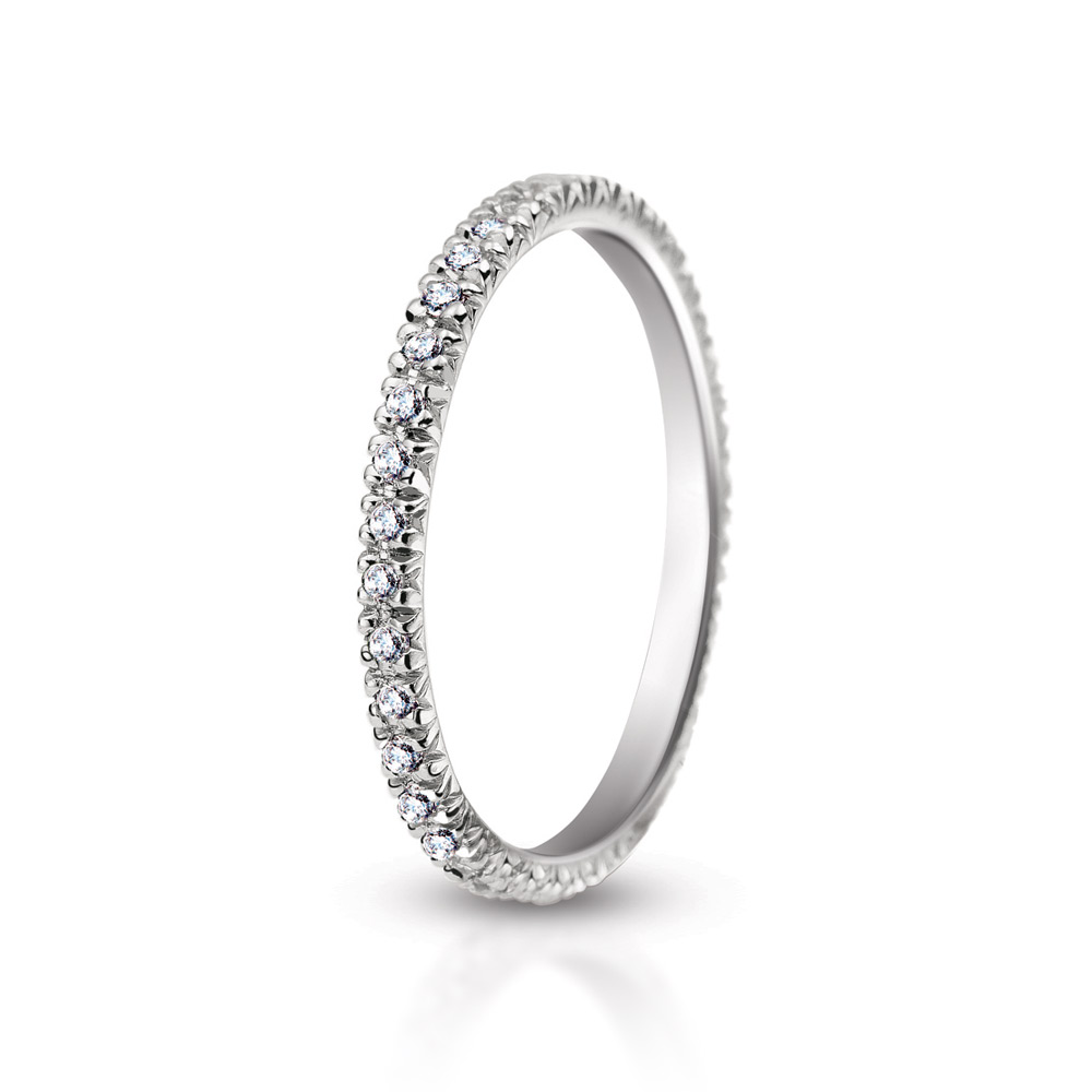 MICRO SET PAVE BAND WITH COLORLESS DIAMONDS, CRAFTED IN 18K WHITE GOLD, 1.00 CTW