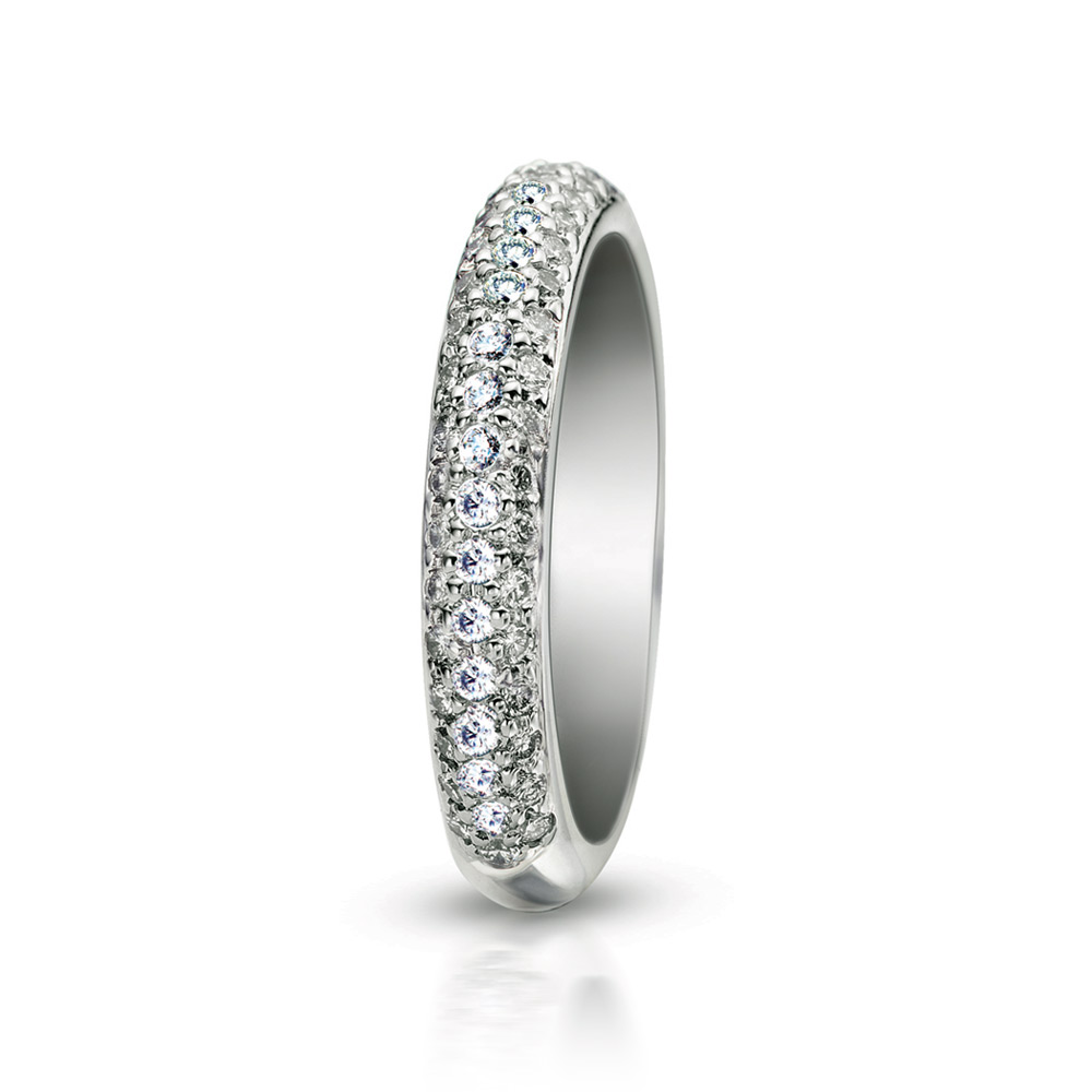 MICRO SET 3 ROW PAVE BAND WITH COLORLESS DIAMONDS, CRAFTED IN PLATINUM, 050 CTW