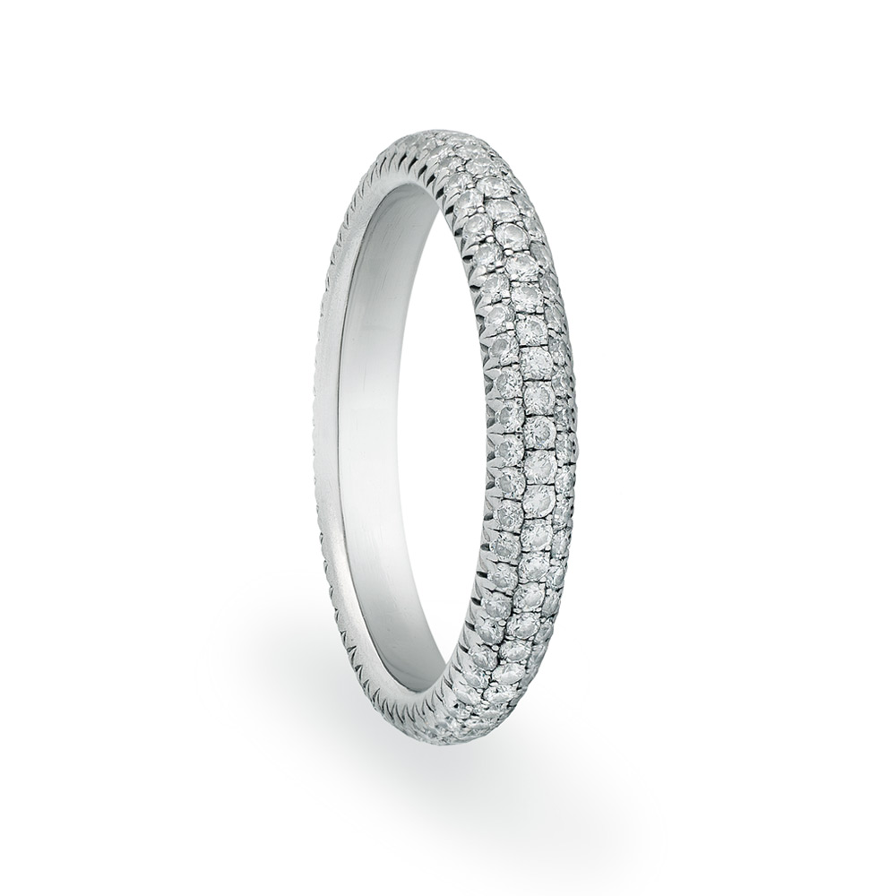 CONTESSA ETERNITY BAND WITH 3 ROWS OF COLORLESS DIAMONDS WITH CUT DOWN DIAMOND PAVE, CRATED IN PLATINUM, 2.00CTW