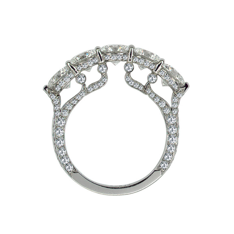 EMPRESS BAND WITH 5 COLORLESS DIAMONDS AND DIAMOND PAVE, CRAFTED IN PLATINUM, 3.50 CTW, SIDE VIEW