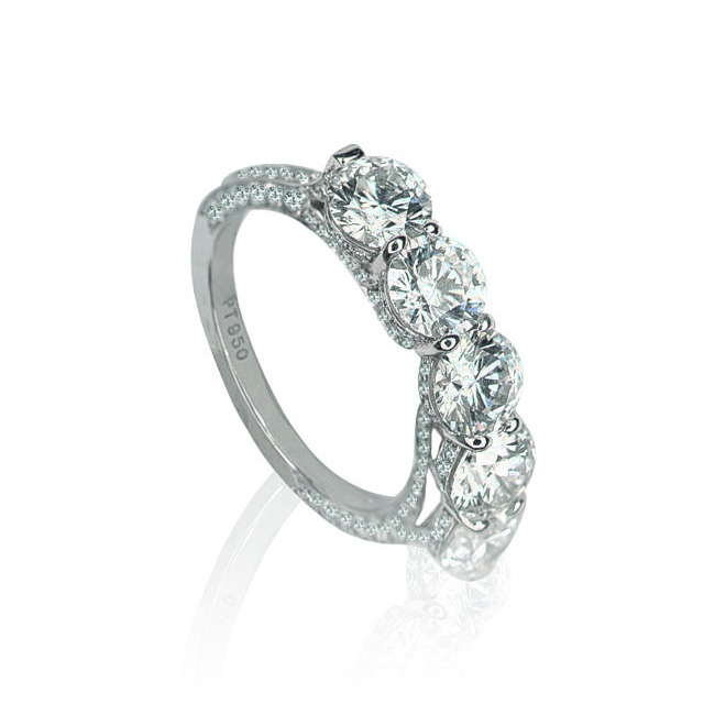 EMPRESS BAND WITH 5 COLORLESS DIAMONDS AND DIAMOND PAVE, CRAFTED IN PLATINUM, 3.50,  TOP VIEW