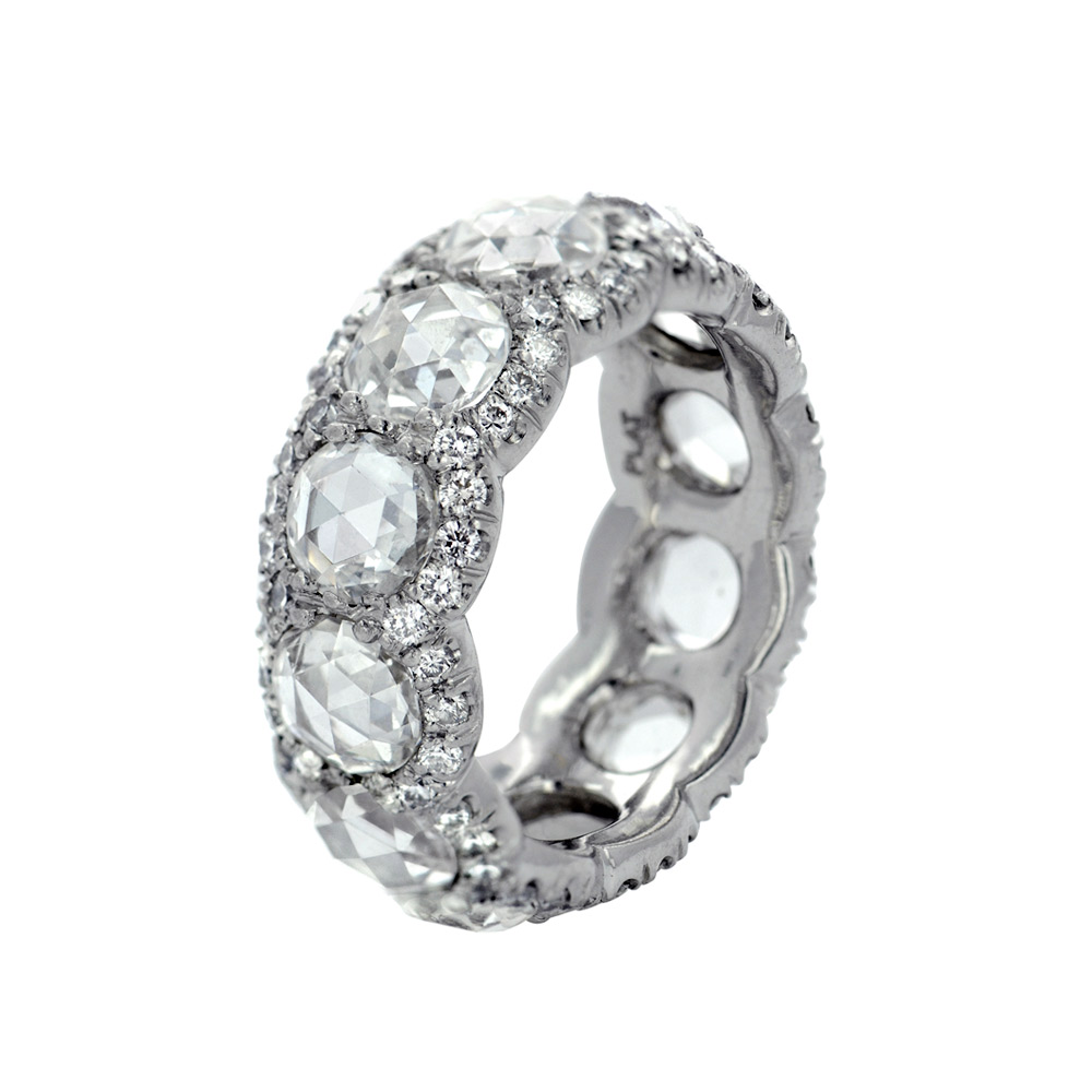 COLORLESS ANTIQUE ROSE CUT DIAMOND ETERNITY BAND WITH DIAMOND PAVE, CRAFTED IN PLATINUM, 7.00 CTW