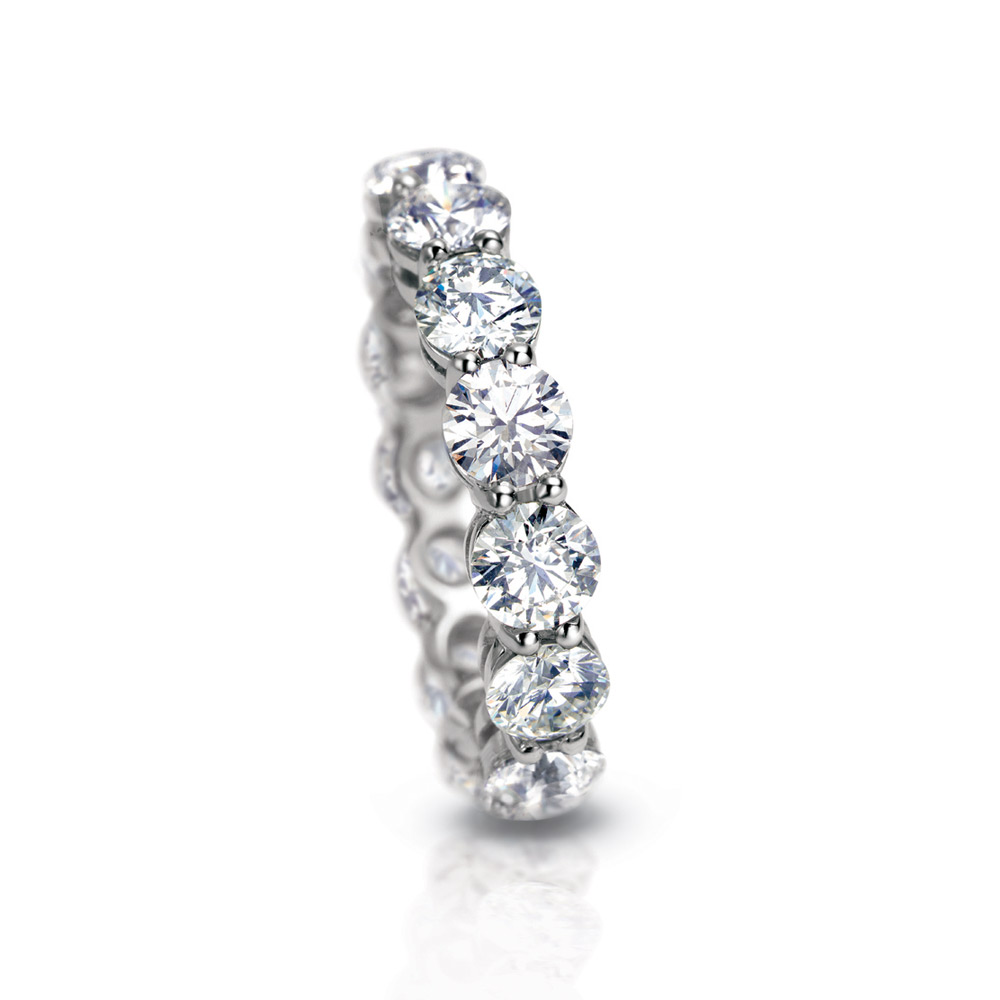 COLORLESS DIAMOND SHARED PRONG ETERNITY BAND, CRAFTED IN PLATINUM, 5.00 CTW