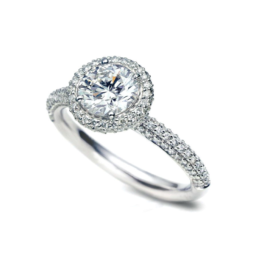 DONATA RING WITH ROUND CENTER DIAMOND AND MICRO-SET DIAMOND PAVE CRAFTED IN PLATINUM, 1.74 CTW