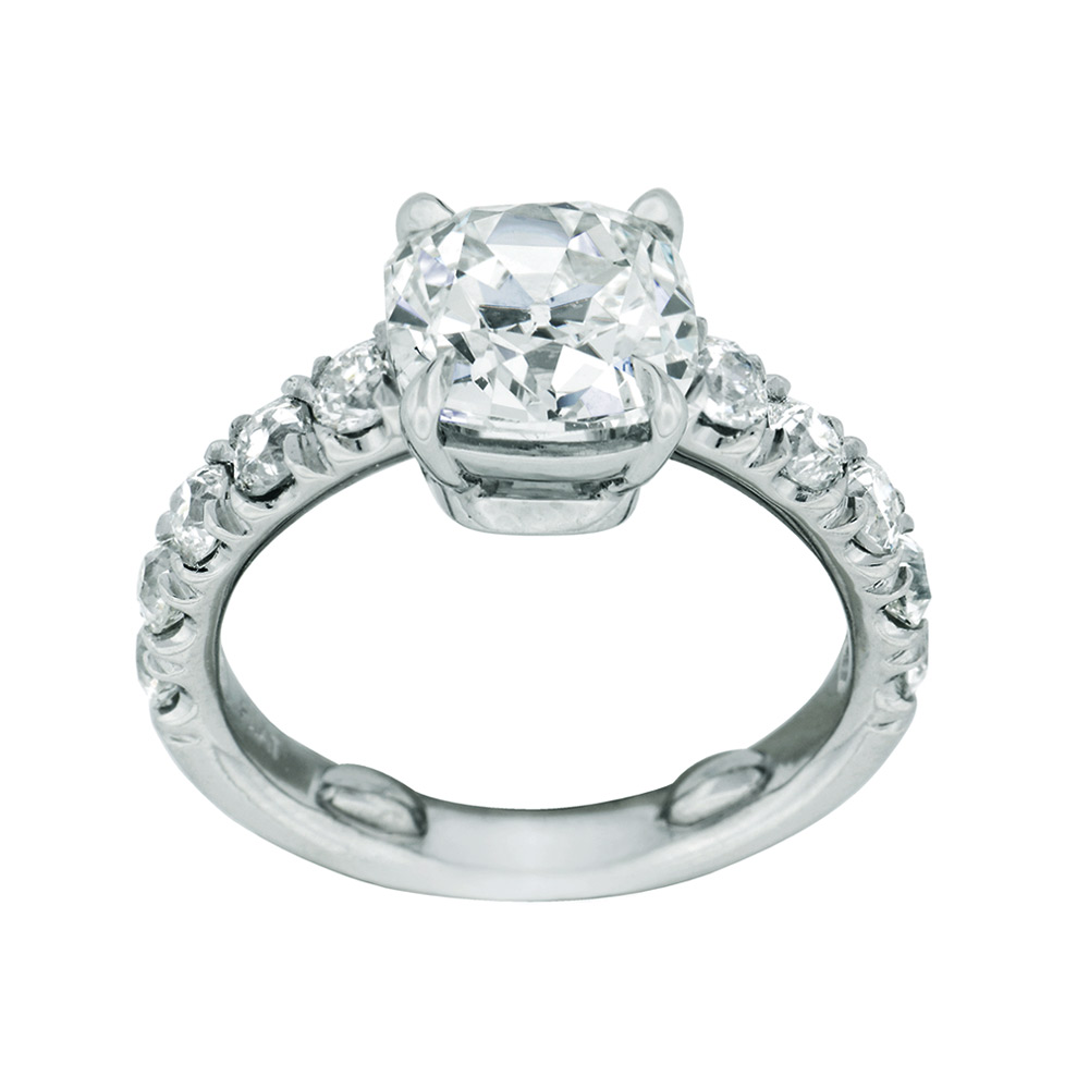 ANTIQUE CUSHION-CUT CENTER DIAMOND WITH ANTIQUE EUROPEAN CUT DIAMOND ACCENT, CRAFTED IN PLATINUM, 3.29  CTW,  SIDE VIEW
