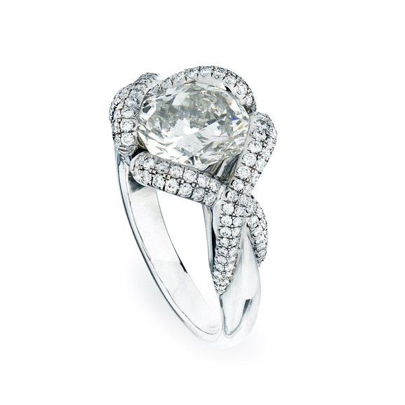 BARONESS RING WITH CUSHION-CUT CENTER DIAMOND AND CUT DOWN DIAMOND PAVE, CRAFTED IN PLATINUM, 2.67  CTW,  SIDE ANGLE VIEW
