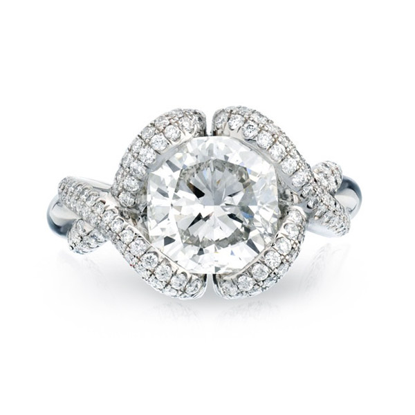 BARONESS RING WITH CUSHION-CUT CENTER DIAMOND AND CUT DOWN DIAMOND PAVE, CRAFTED IN PLATINUM, 2.67  CTW,  TOP  VIEW