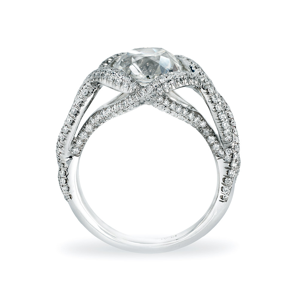 CONTESSA RING WITH ANTIQUE CUSHION-CUT CENTER DIAMOND AND CUT DOWN DIAMOND PAVE, CRAFTED IN PLATINUM, 3.60 CTW,  PROFILE VIEW