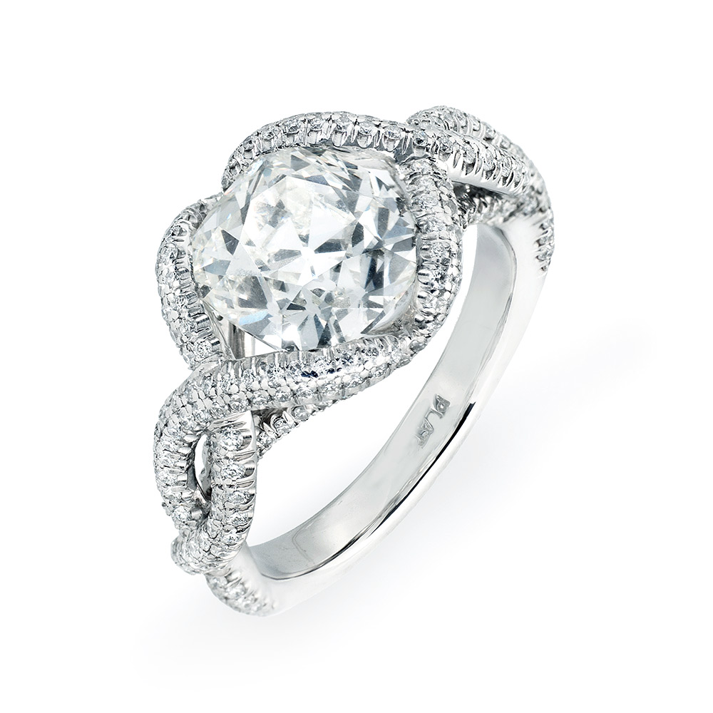 CONTESSA RING WITH ANTIQUE CUSHION-CUT CENTER DIAMOND AND CUT DOWN DIAMOND PAVE, CRAFTED IN PLATINUM, 3.60 CTW,   TOP ANGLE VIEW
