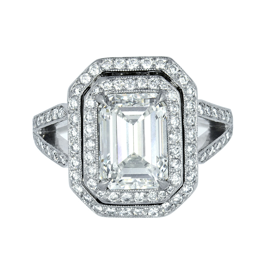 EMERALD CUT CENTER DIAMOND WITH TWO ROWS OF DIAMOND PAVE, MILGRAIN AND HAND ENGRAVED DESIGN, CRAFTED IN PLATINUM, 7.89  CTW,  TOP VIEW