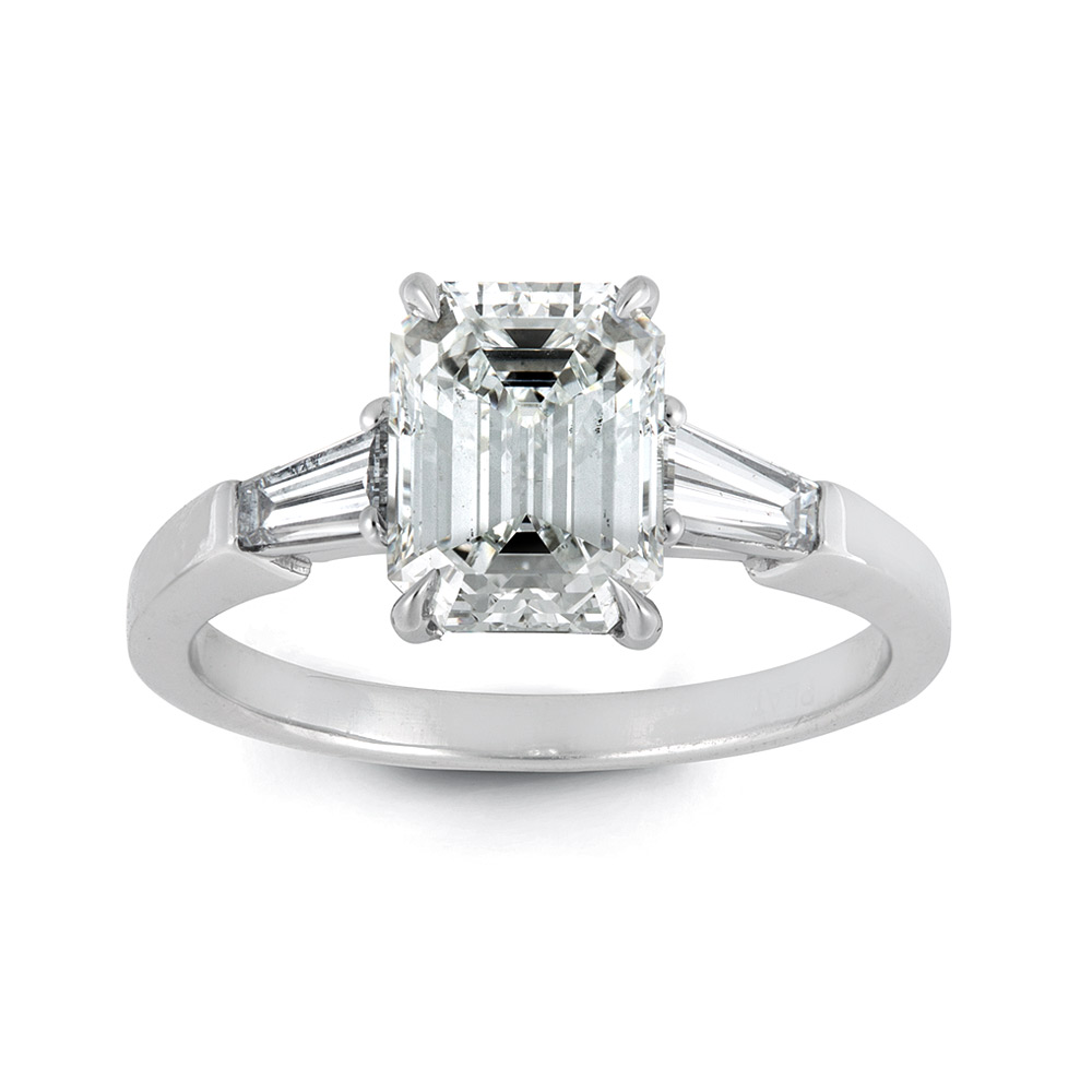 EMERALD CUT CENTER DIAMOND WITH TAPERED BAGUETTES, CRAFTED IN PLATINUM, 2.46 CTW