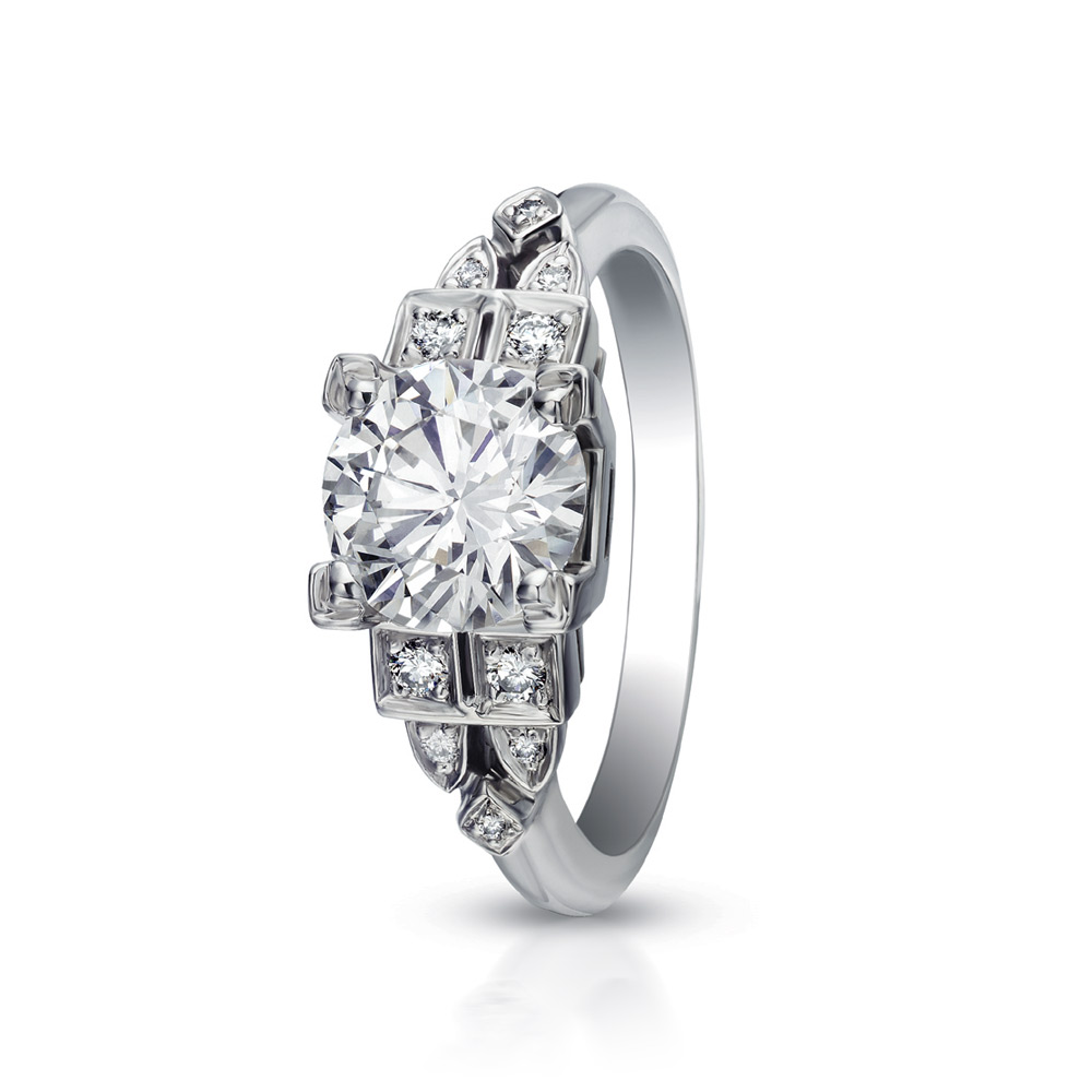 LA TOUR RING WITH ROUND CENTER DIAMOND AND DIAMOND ACCENTS, CRAFTED IN PLATINUM, 1.62 CTW