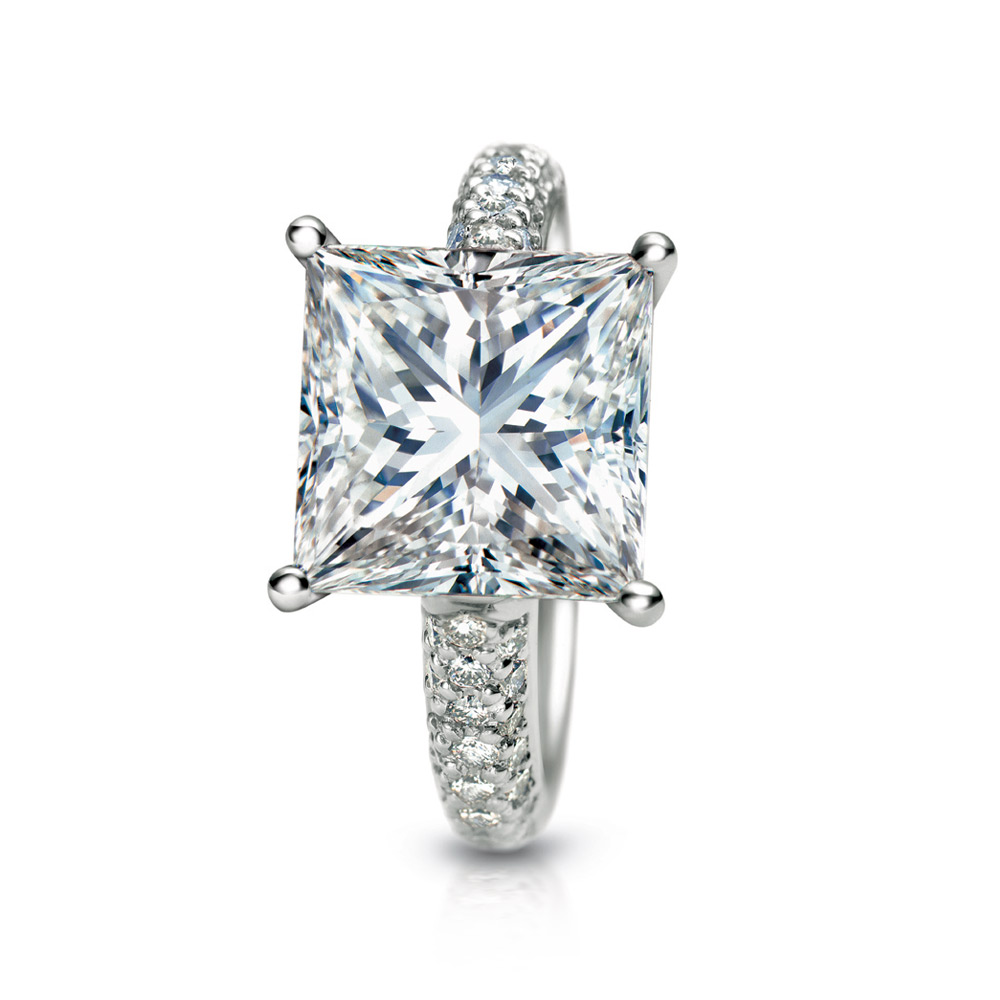 PRINCESS CUT DIAMOND SOLITAIRE RING WITH MICRO-SET DIAMOND PAVE, CRAFTED IN PLATINUM, 3.38 CTW