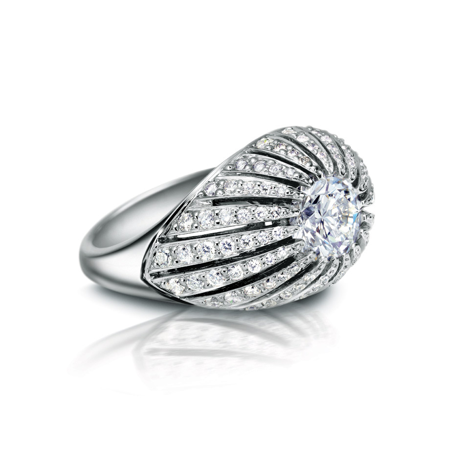 OCEANE RING WITH ROUND CENTER DIAMOND AND MICRO-SET DIAMOND PAVE, CRAFTED IN PLATINUM, 1.78 CTW