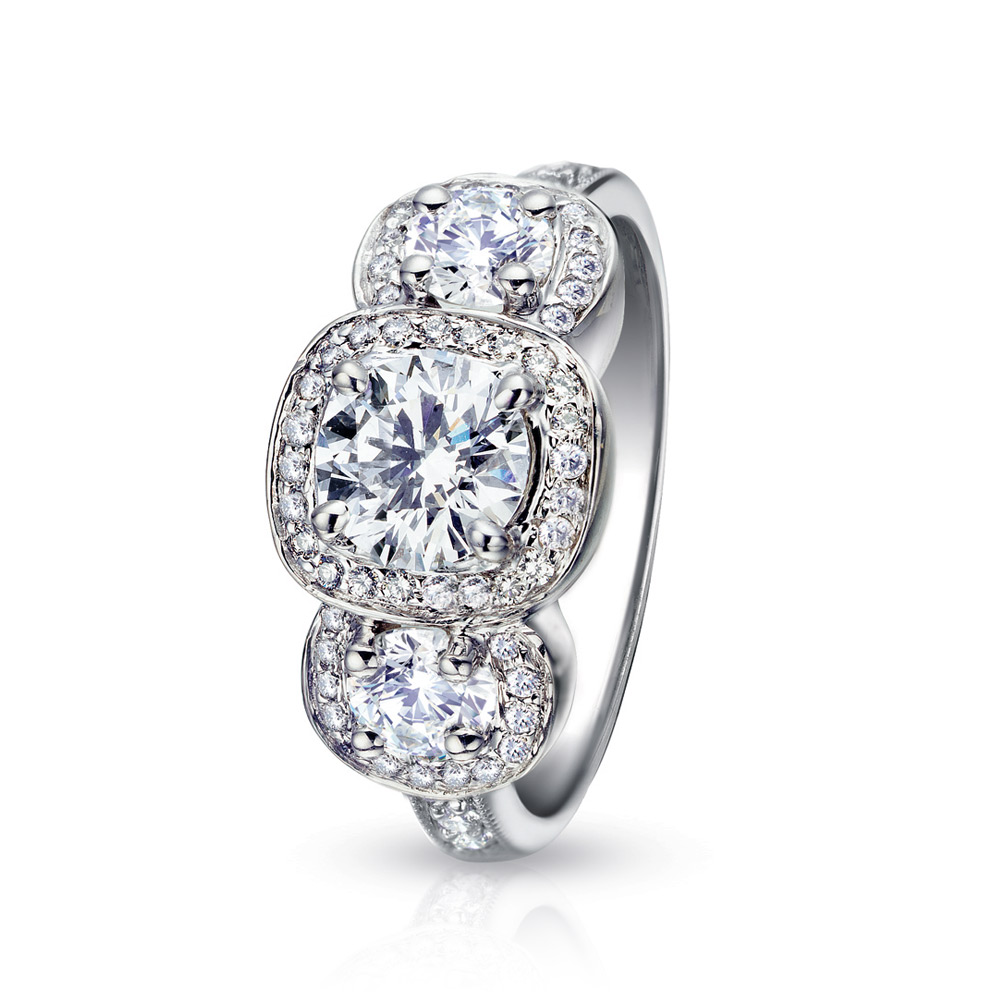 3 ROUND DIAMOND RING WITH DIAMOND MICRO-SET HALO IN CUSHION SHAPE, CRAFTED IN PLATINUM, 1.55 CTW