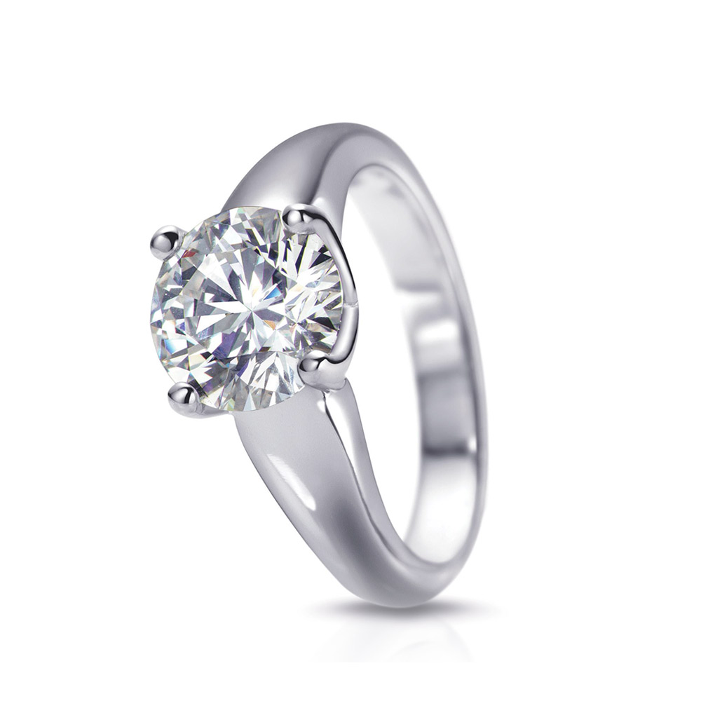 RHODES RING WITH ROUND   CENTER DIAMOND WITH ROUND DIAMOND ACCENTS,   CRAFTED IN PLATINUM,  1.62 CTW, TOP SIDE ANGLE