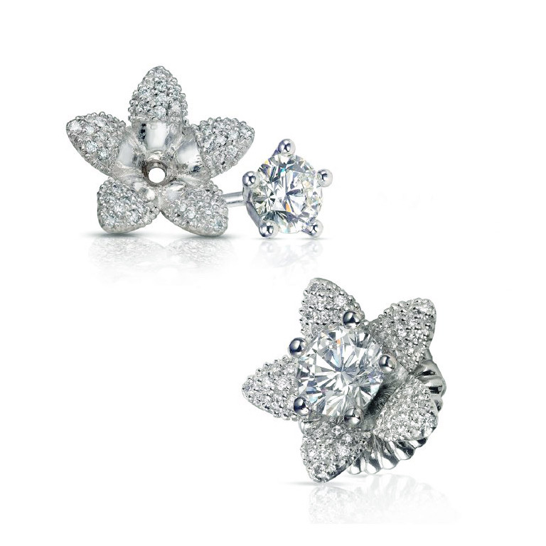 FLOWER JACKETS WITH MICRO-SET DIAMONDS AND ROUND DIAMOND STUDS, CRAFTED IN PLATINUM, 1.23 CTW